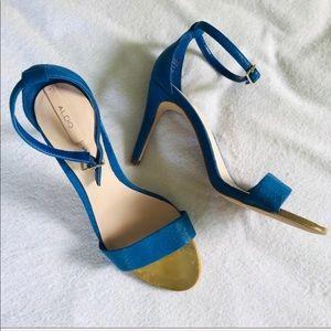 Aldo blue gold snakeskin ankle strap heels